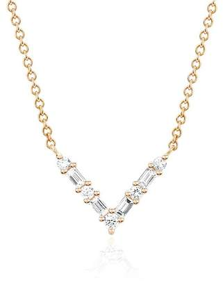 Ef Collection 14K Rose Gold Diamond Baguette Chevron Necklace - 0.18 ctw