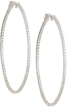 Neiman Marcus Diamonds 14k White Gold Diamond Hoop Earrings, 2tcw