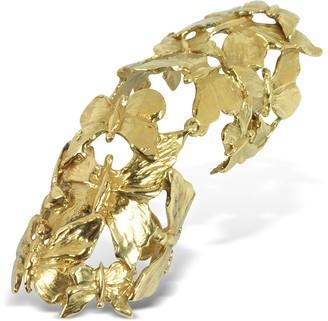 Bernard Delettrez Goldtone Butterflies Articulated Bronze Ring
