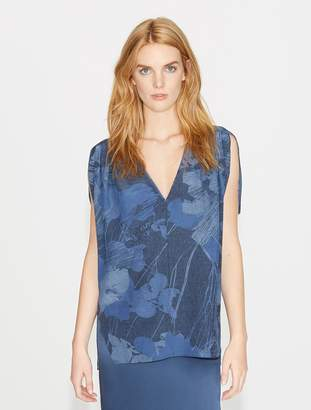 Halston Printed Flowy Silk Top with Gathers