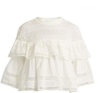 SEA Ruffled macramé-lace cotton top $345 thestylecure.com