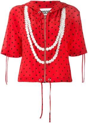 Moschino polka dot trompe-l'oeil pearl hoodie
