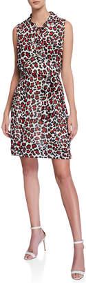 T Tahari Safari-Print Lace-Up Shirt Dress