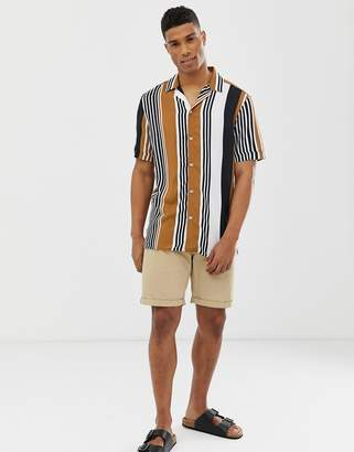 Menswear shirt with bold stripe in tan
