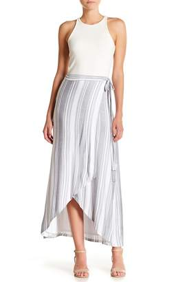 Loveappella Striped Wrap Maxi Skirt