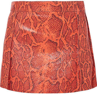 Chloé Snake-effect Leather Mini Skirt - Red