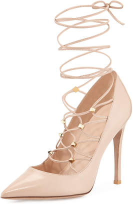 d78b8472830 Valentino Rockstud Lace-Up Pointed-Toe Pumps