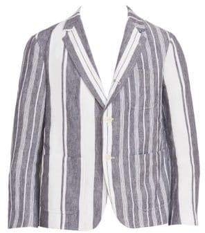 0d365c41ba1 Thom Browne Unconstructed Striped Patch Pocket Cropped Jacket