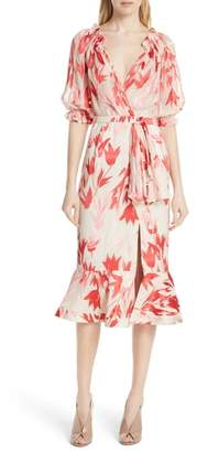Saloni Olivia Silk Midi Dress