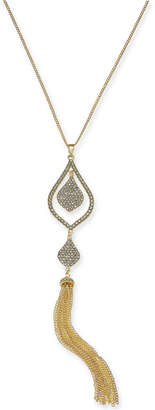 "INC International Concepts I.n.c. Gold-Tone Crystal & Chain Tassel Pendant Necklace, 28"" + 3"" extender"