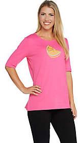 Quacker Factory Fruit Fun Sequin Elbow SleeveKnit T-shirt