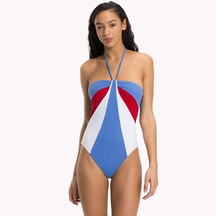 Colour-Block Halter Neck Swimsuit