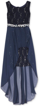 Speechless Girls' Sequin-Trim Lace High-Low Dress $94 thestylecure.com