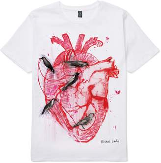 Michael Gurhy - Damages, Birds In Heart White Organic Cotton T-Shirt