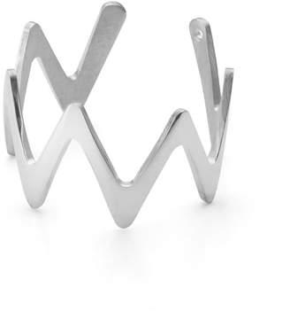 Ekria - Large Zigzag Stackable Ring Shiny White Gold