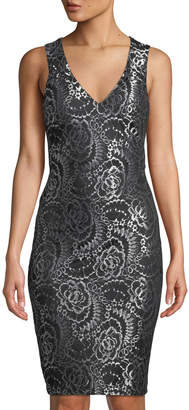 GUESS Two-Tone Lace Back-Cutout Sleeveless Sheath Dress