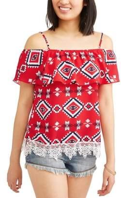 No Boundaries Juniors' Ruffle Flounce Crochet Trim Cold Shoulder Blouse