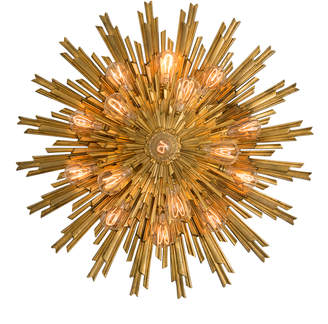 Rejuvenation Gilt Bronze Round Sunburst Flush Mount by E.F. Caldwell