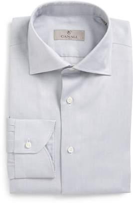 Canali Trim Fit Solid Dress Shirt