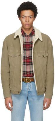 Gucci Tan Corduroy Sherpa Wolf Jacket