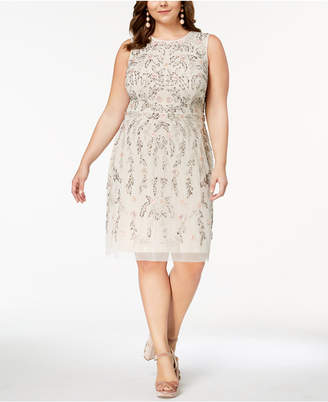 Adrianna Papell Plus Size Floral-Beaded Dress