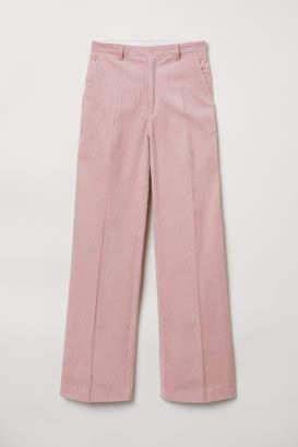 H&M Wide-leg Corduroy Pants - Pink