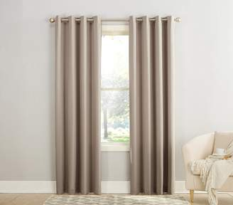 Sun Zero Barrow Energy Efficient Grommet Curtain Panel, 54 x 84 Inch, Beige