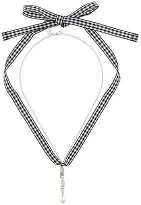 Miu Miu Swarovski crystal logo and pearl necklace