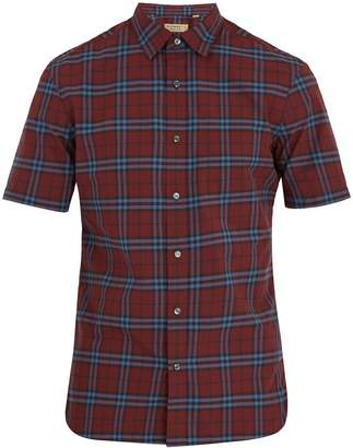 Burberry Point-collar short-sleeved checked cotton shirt