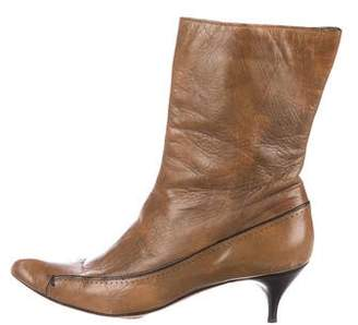 CNC Costume National Pointed-Toe Leather Ankle Boots