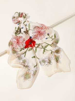 6c1add6672 Shein Flower Pattern Hair Scrunchie Scarf 1pc