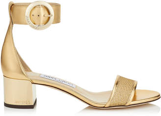 Jimmy Choo JAIMIE 40 Gold Lurex Mesh Sandal with Round Buckle Fastening