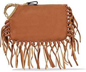 Valentino Scorpio Fringe-Trimmed Textured-Leather Clutch