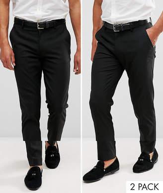 Asos Design DESIGN 2 pack skinny smart pants in black SAVE