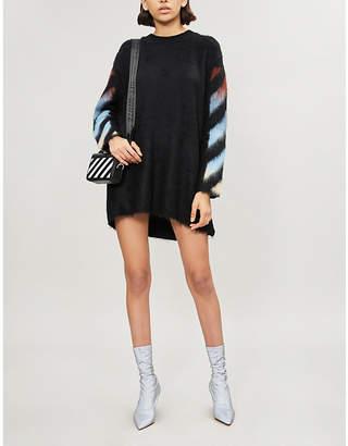 Off-White Diagonal-print mohair-blend jumper