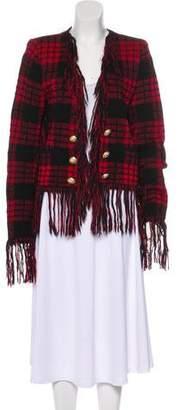 Balmain Mohair-Blend Structured Jacket