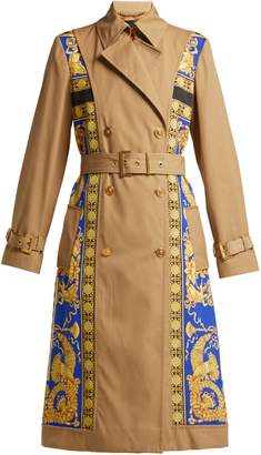Versace Lovers Baroque-print double-breasted trench coat