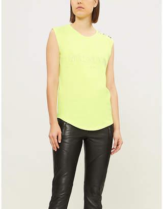 Balmain Womens Yellow Logo-Print Cotton-Jersey Short Sleeve T-Shirt