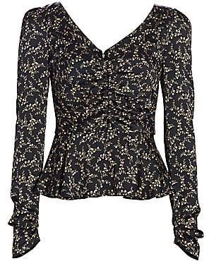Jonathan Simkhai Women's Floral Ruched Hammered Stretch-Silk Puff-Sleeve Twist-Front Top