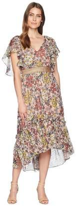 Taylor Flutter Sleeve Printed Chiffon Cinched Waist Maxi Dress Women's Dress