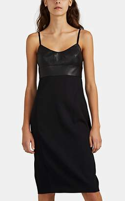 Narciso Rodriguez Women's Virgin Wool & Leather Cami Dress - Black