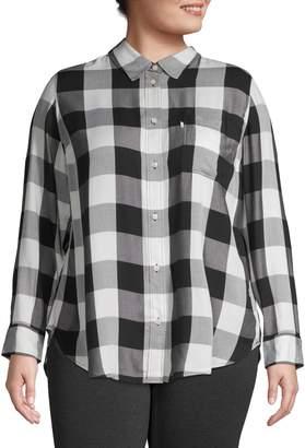 Levi's Plus Button-Back Flannel Top
