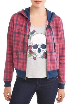 No Boundaries Juniors' Printed Hooded Bomber Graphic T-Shirt 2Fer