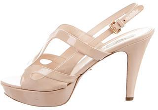 pradaPrada Patent Leather Platform Sandals