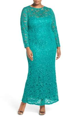 Marina Illusion Yoke & Long Sleeve Lace Gown