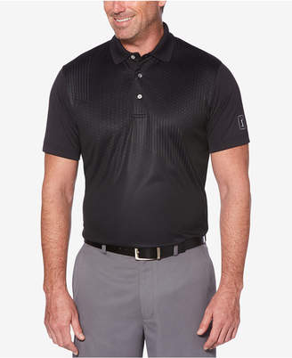 PGA Tour Men's Pro Series Double-Knit Asymmetrical Printed Performance Polo