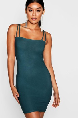 boohoo Square Neck Cross Strappy Bodycon Dress