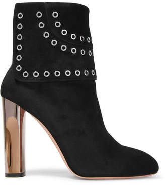Alexander McQueen - Eyelet-embellished Suede Ankle Boots - Black $1,460 thestylecure.com