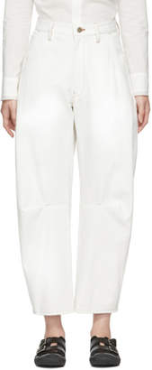 Y's Ys White U-Gusset Wide Jeans