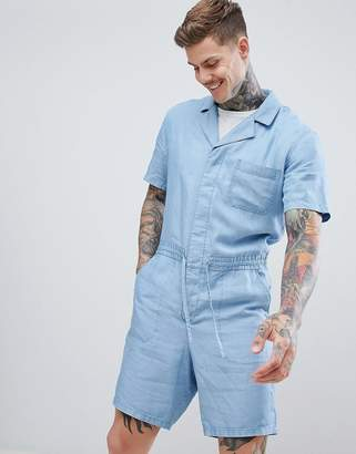 Asos DESIGN short boilersuit in lyocell chambray